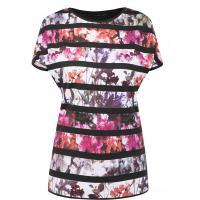 Monnari T-shirt z kwiatowymi pasami TSH4160