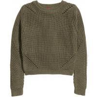 H&M Sweter o wzorzystym splocie 0228471011 Zieleń khaki