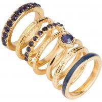 H&M Pierścionki 7-pak 0222246011 Gold/Blue
