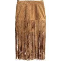 H&M Zamszowa spódnica z frędzlami 0326633002 Beżowy