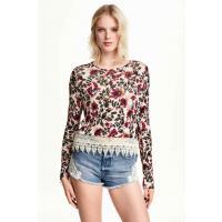 H&M Cienki sweter 0304940005 Beżowy/Kwiaty