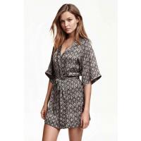 H&M Satynowe kimono 0215984017 Czarny/Wzór