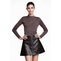 H&M Krótki sweter z półgolfem 0323920020 Ciemnofioletowy melanż
