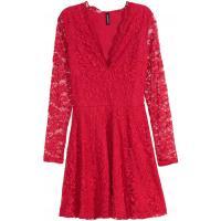H&M Koronkowa sukienka w serek 0321216004 Czerwony