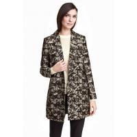 H&M Żakardowy płaszcz 0353889001 Czarny/Wzór