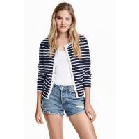 H&M Patterned cotton cardigan 0312714010 Dark blue/Striped