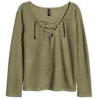 H&M Cienki sweter ze sznurowaniem 0382746003 Zieleń khaki