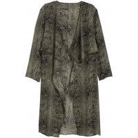 H&M Szyfonowy płaszcz 0388740003 Zieleń khaki