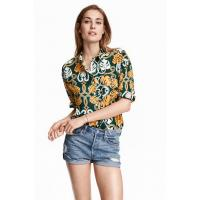 H&M Patterned cotton shirt 0369669001 Dark green/Patterned