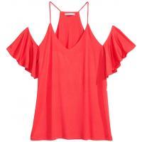 H&M Top cold shoulder 0409678001 Koralowoczerwony