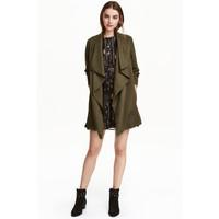 H&M Drapowany płaszcz 0320686005 Zieleń khaki