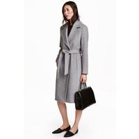 H&M Płaszcz z domieszką wełny 0409498005 Szary melanż