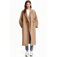 H&M Wełniany płaszcz oversize 0416536005 Beżowy