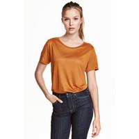 H&M Dżersejowy top 0409637010 Pomarańczowy