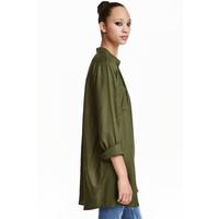 H&M Długa koszula 0398620005 Zieleń khaki