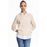 H&M Sweter 0404712012 Jasnobeżowy