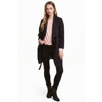 H&M Drapowany płaszcz 0320686005 Czarny