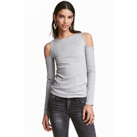 H&M Top cold shoulder w prążki 0369815019 Szary