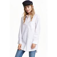 H&M Bawełniana koszula oversize 0442423002 Biały
