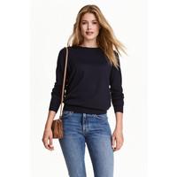 H&M Sweter z wełny merynosowej 0317458003 Ciemnoniebieski