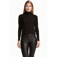 H&M Ribbed polo-neck top 0365403001 Black