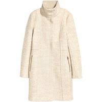 H&M Krótki płaszcz z wełną 0417642003 Jasnobeżowy melanż