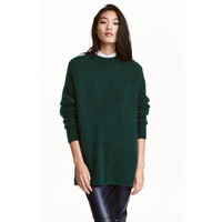 H&M Sweter oversize z moherem 0396387003 Ciemnozielony melanż