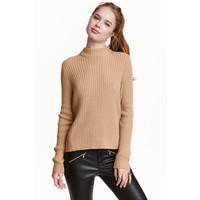 H&M Sweter w prążki 0405442008 Beżowy