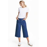 H&M Spodnie dżinsowe cullote 0442156001 Granatowy/Paski