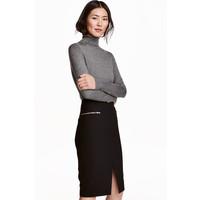 H&M Cienki sweter z golfem 0400466009 Ciemnoszary melanż