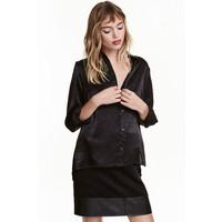 H&M Bluzka z długim rękawem 0430554007 Czarny