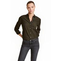 H&M Koszula flanelowa 0401484008 Zieleń khaki/Krata