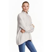 H&M Dzianinowy sweter z golfem 0428705003 Jasnoszary