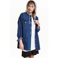 H&M Kurtka koszulowa z kapturem 0398639001 Niebieski denim