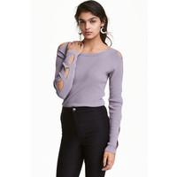 H&M Sweter z wycięciami 0448470003 Wrzosowofioletowy