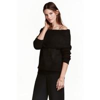 H&M Sweter z odkrytymi ramionami 0443214003 Czarny