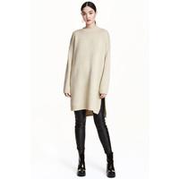 H&M Długi sweter 0419637001 Jasnobeżowy