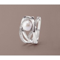 Tchibo Srebrny pierścionek z białą perłą z jądra muszli i cyrkonią* 400105064