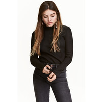 H&M Sweter w prążki 0453762002 Czarny