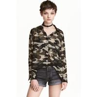 H&M Szyfonowa koszula 0337814005 Zieleń khaki/Wzór