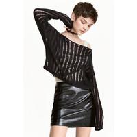H&M Sweter o splocie w prążki 0468709003 Czarny