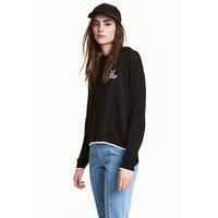H&M Cienki sweter z kapturem 0448562003 Czarny
