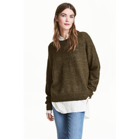 H&M Sweter oversize 0448193001 Zieleń khaki melanż