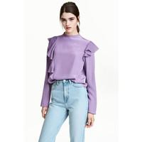 H&M Krepowana bluzka z falbanami 0501588001 Fioletowy