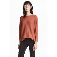 H&M Sweter o splocie w prążki 0411973004 Rdzawy