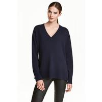 H&M Kaszmirowy sweter 0462560001 Ciemnoniebieski