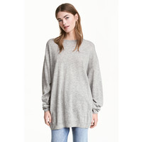 H&M Cienki sweter 0487124005 Jasnoszary melanż