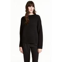 H&M Sweter w strukturalny splot 0479604001 Czarny