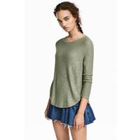 H&M Cienki sweter 0358547009 Zieleń khaki