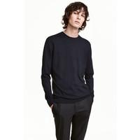 H&M Sweter z bawełny premium 0443638001 Ciemnoniebieski